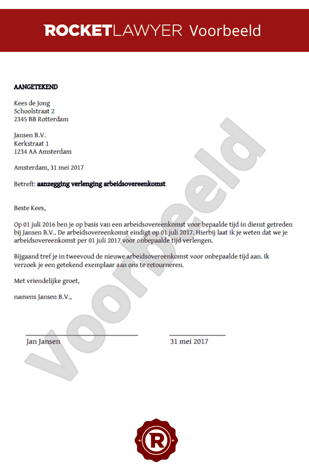 Aanzegging verlenging arbeidscontract
