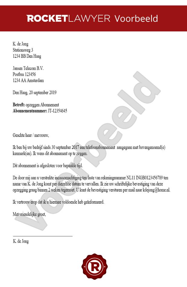 abonnement opzeggen voorbeeldbrief