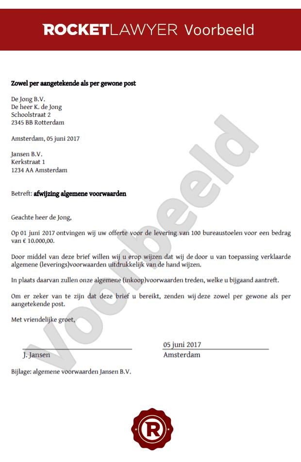 voorbeeldbrief afwijzing offerte Brief afwijzing algemene voorwaarden opstellen voorbeeldbrief afwijzing offerte