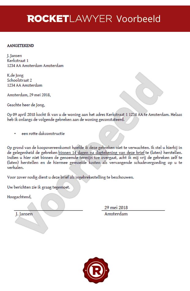 voorbeeldbrief kosten verhalen Gratis brief verborgen gebreken huis voorbeeldbrief kosten verhalen