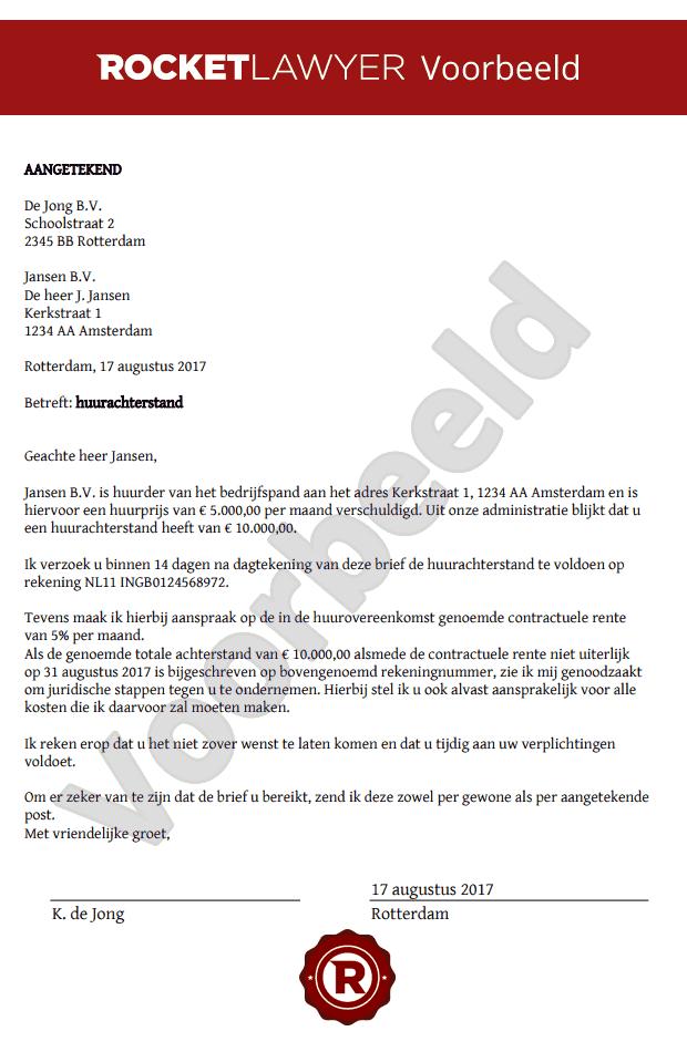 Brief huurachterstand bedrijfsruimte opstellen