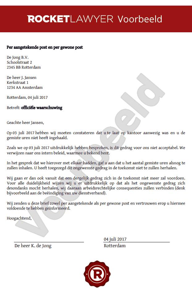 voorbeeldbrief loonopschorting Stel gemakkelijk een officiële waarschuwing op voorbeeldbrief loonopschorting