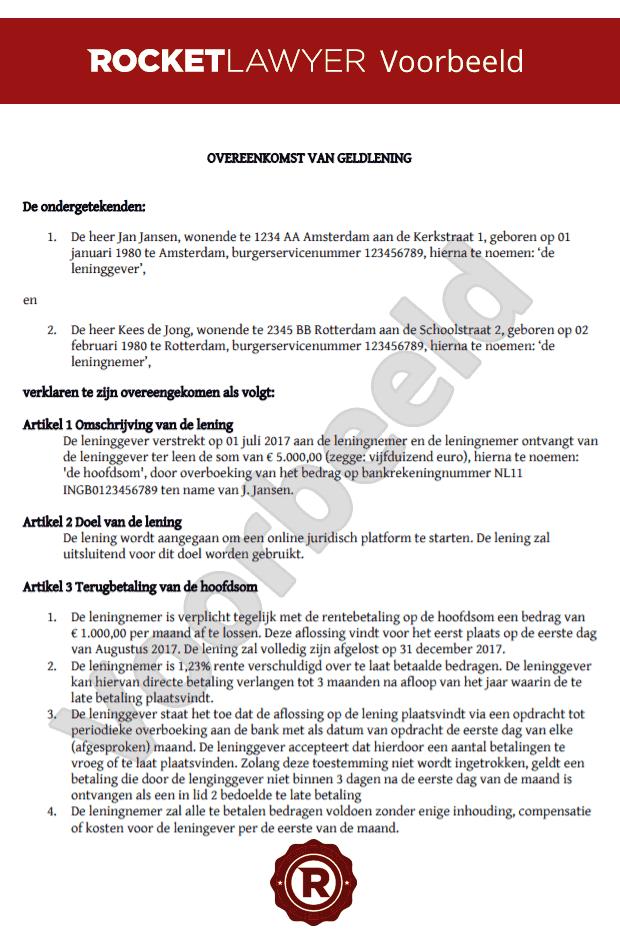 voorbeeldbrief lening Leg je onderhandse lening eenvoudig vast voorbeeldbrief lening