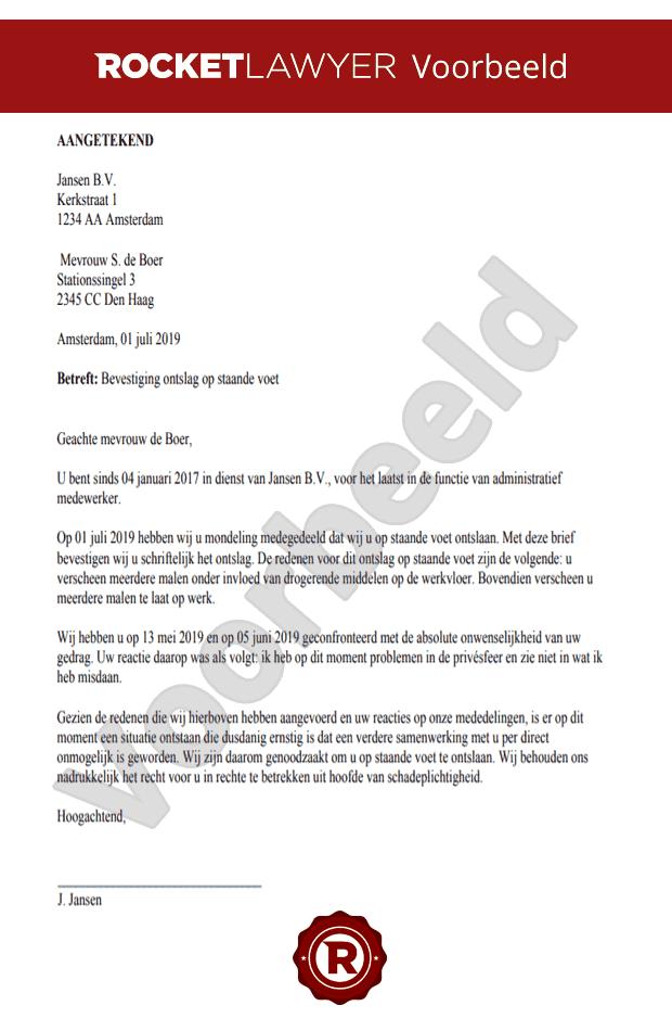 concept ontslagbrief werknemer Brief Op Staande Voet Ontslag Opstellen