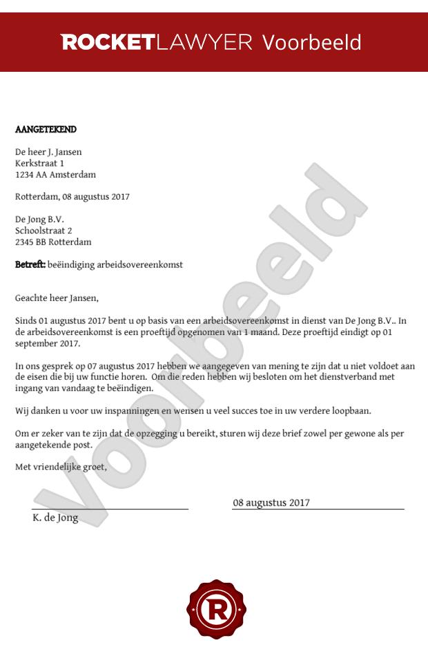 ontslagbrief proeftijd werknemer voorbeeld Ontslagbrief tijdens proeftijd opstellen ontslagbrief proeftijd werknemer voorbeeld