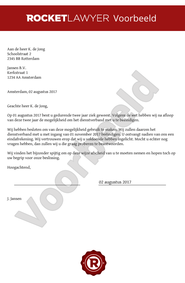 ontslagbrief proeftijd werknemer voorbeeld Ontslagbrief bij ziekte opstellen ontslagbrief proeftijd werknemer voorbeeld