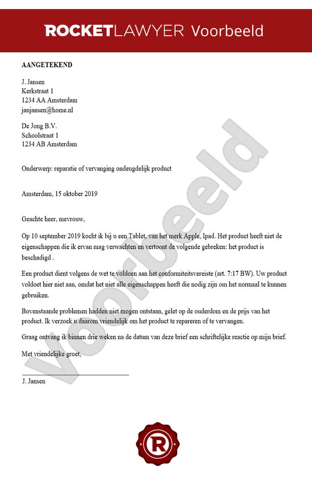 voorbeeld klachtenbrief product Verzoek Reparatie of Vervanging Product Opstellen