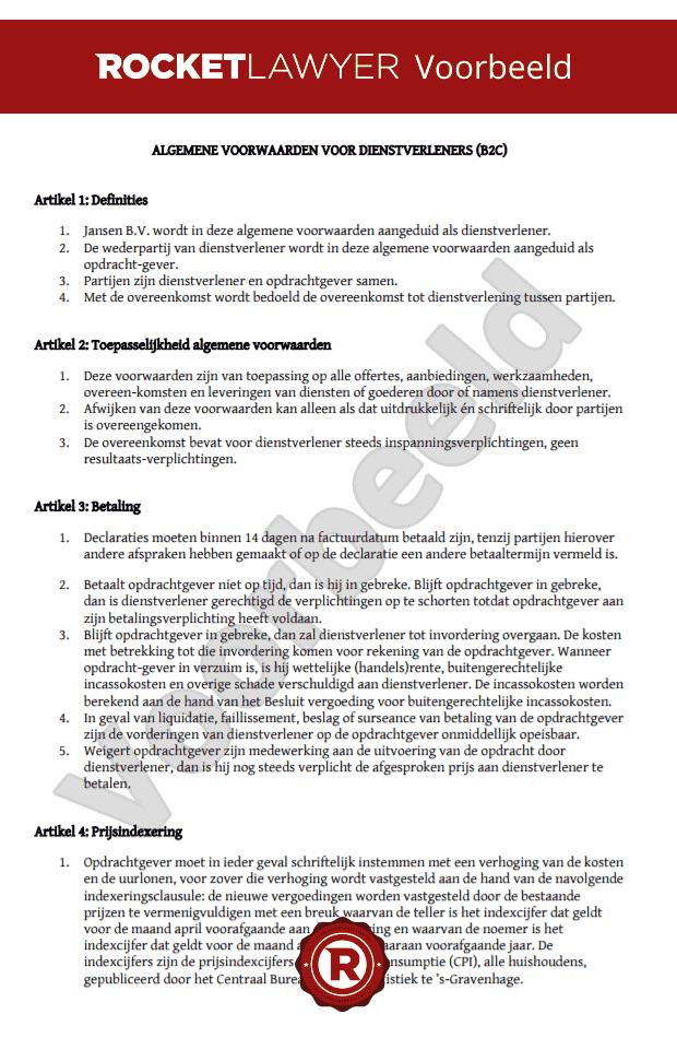 Algemene voorwaarden dienstverlening opstellen (B2C)