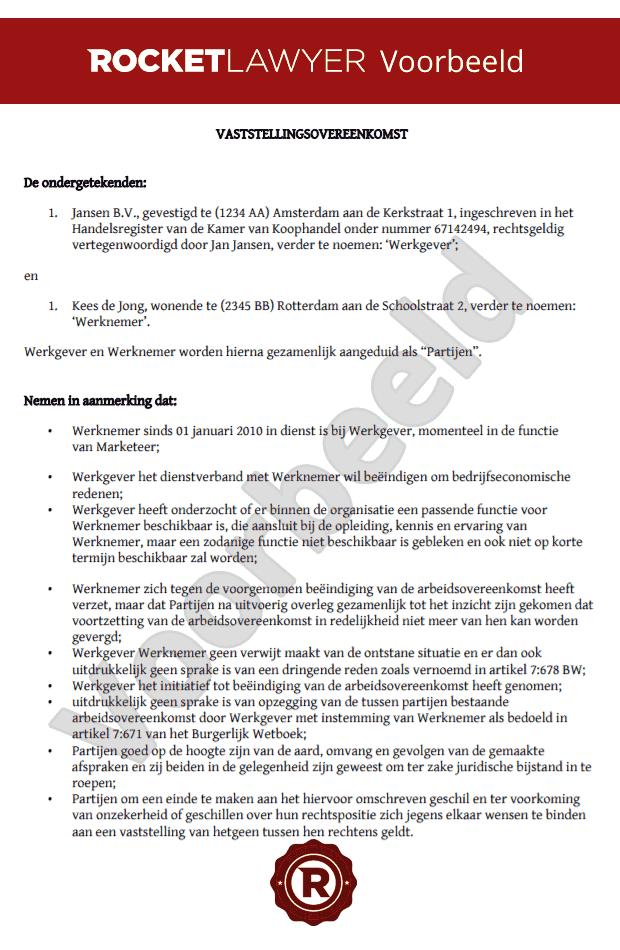 voorbeeldbrief vaststellingsovereenkomst Stel makkelijk een vaststellingsovereenkomst op voorbeeldbrief vaststellingsovereenkomst