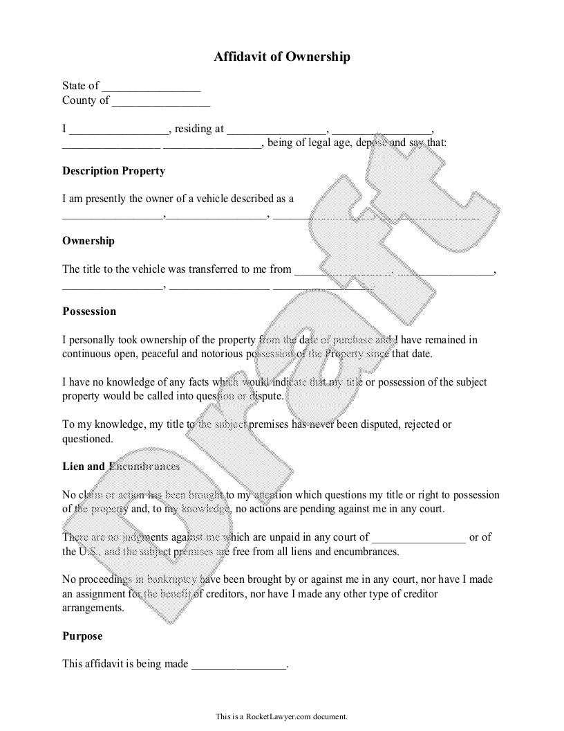 Sample Affidavit of Ownership Template