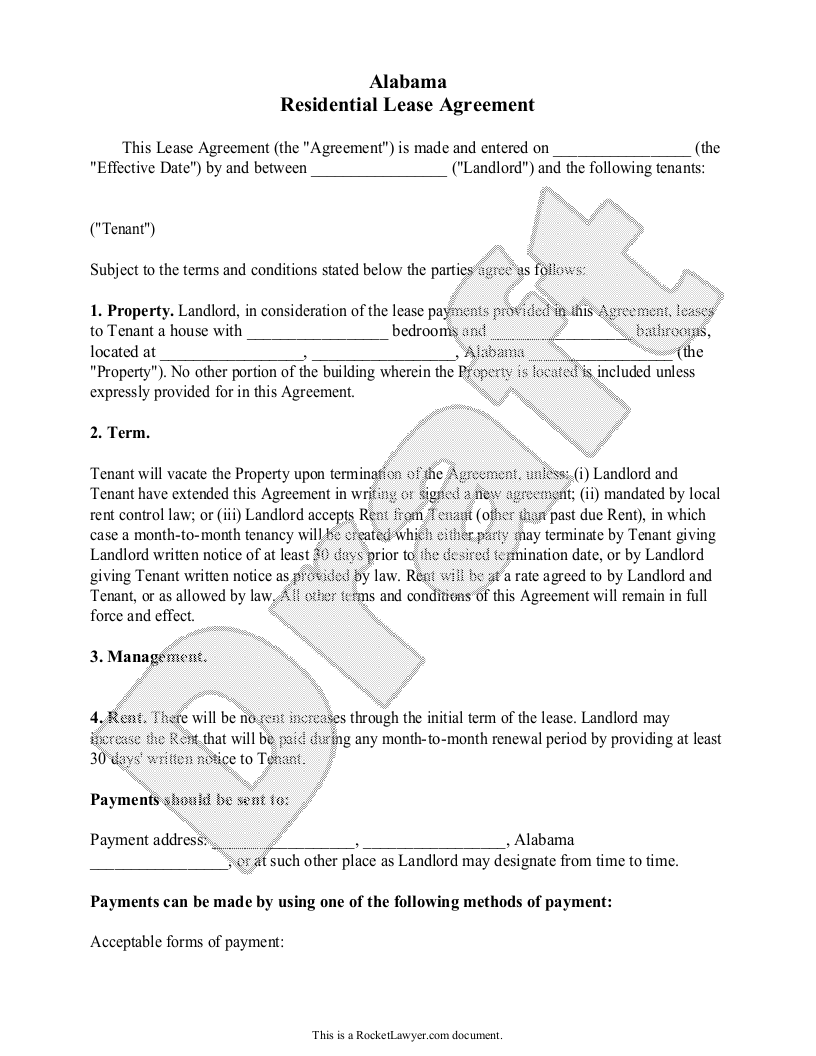 Sample Alabama Lease Agreement Template