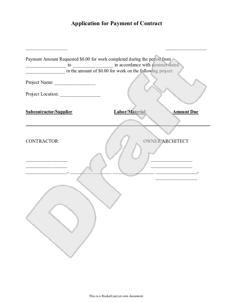 Sample Application for Payment of Contract Template