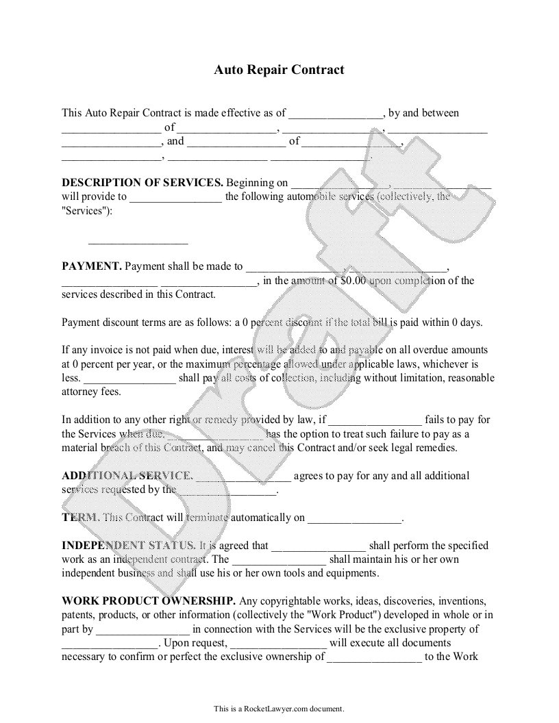 Sample Auto Repair Contract Template