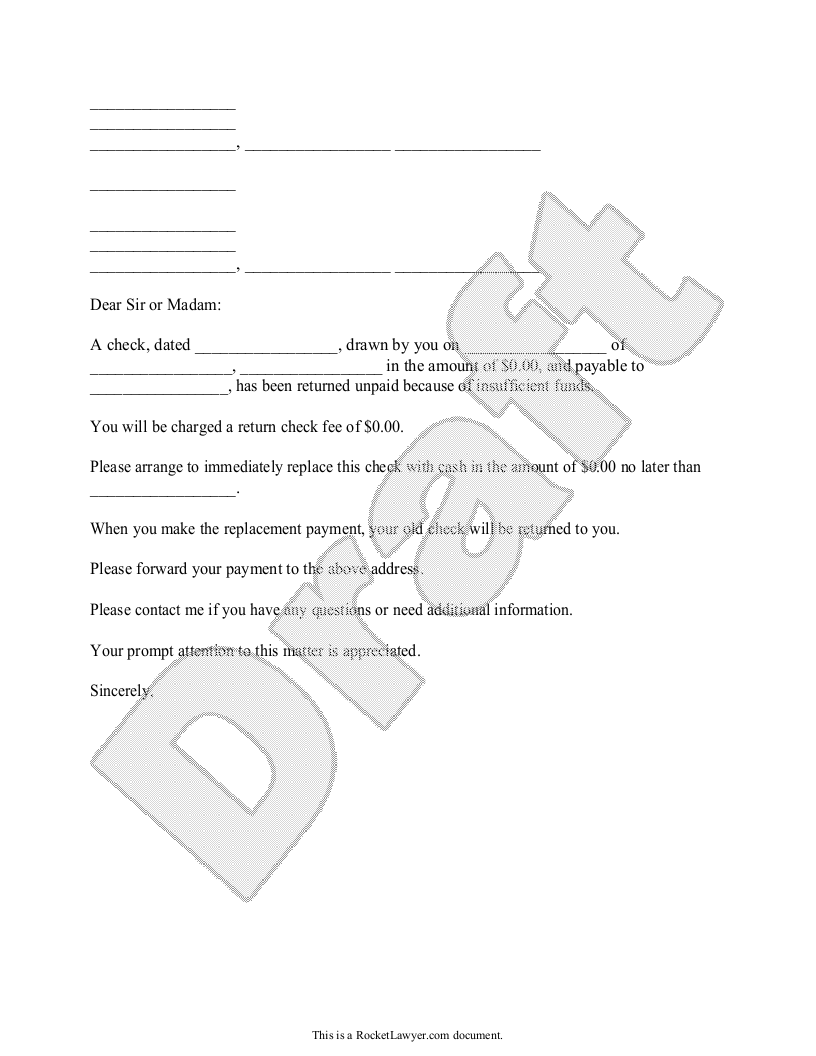 Sample Bad Check Notice Template