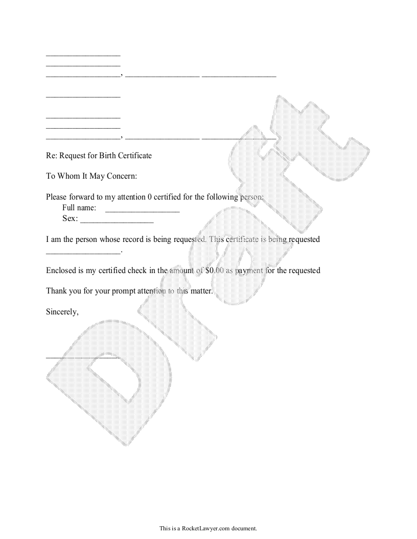 Sample Birth or Death Certificates Request Template