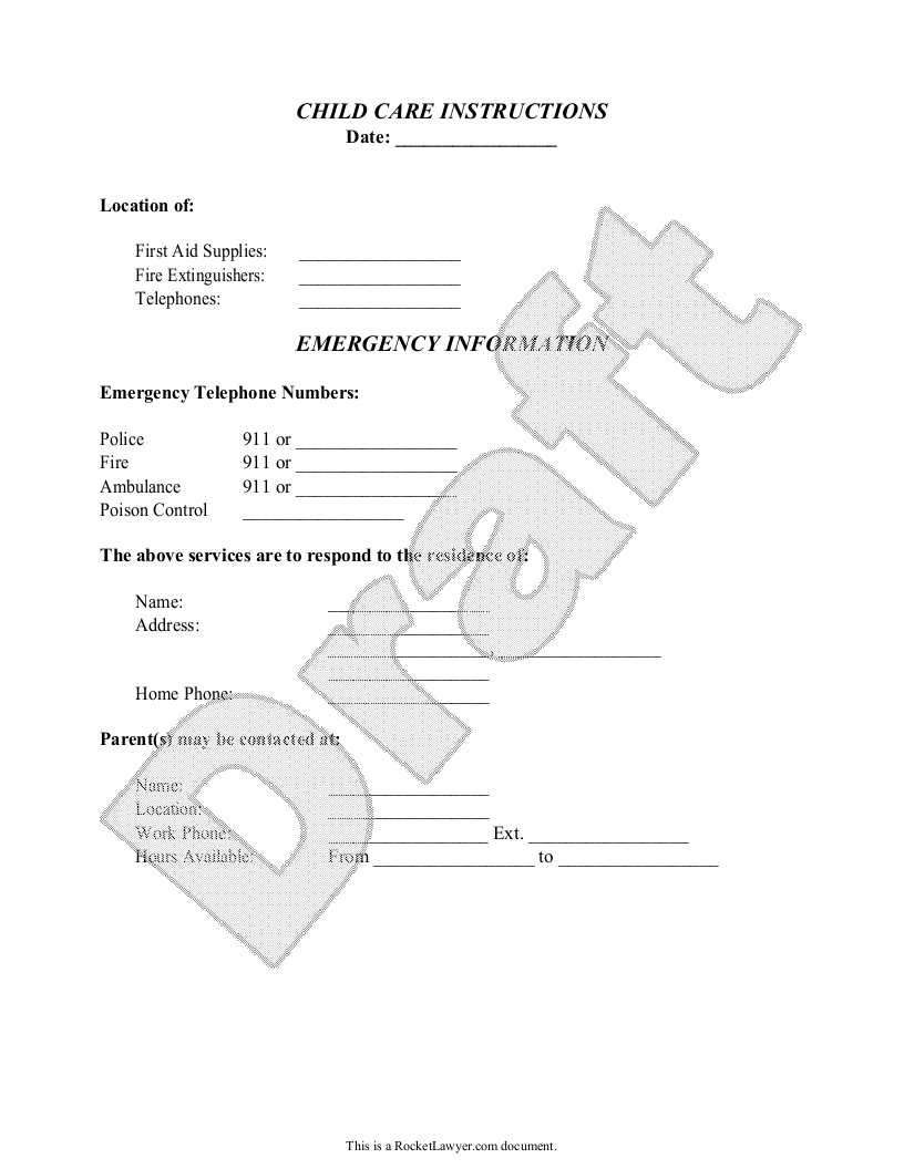 Sample Child Care Instructions Template