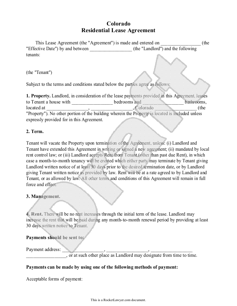 Sample Colorado Lease Agreement Template