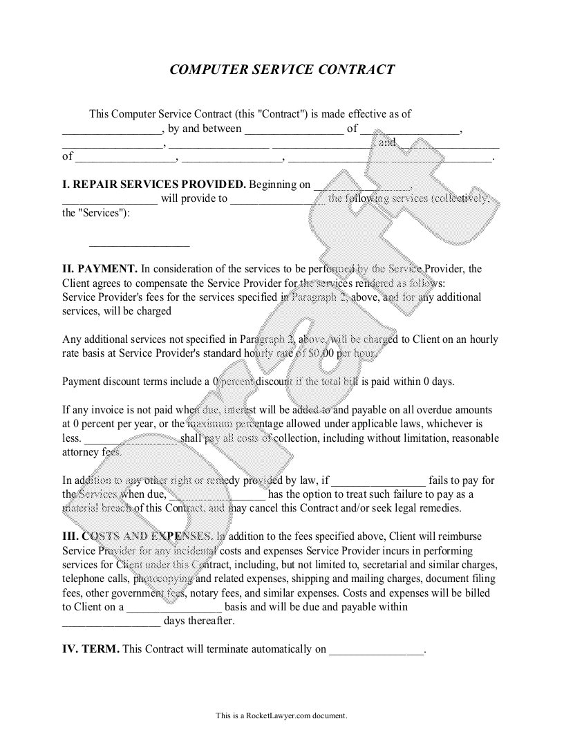 Sample Computer Service Contract Template