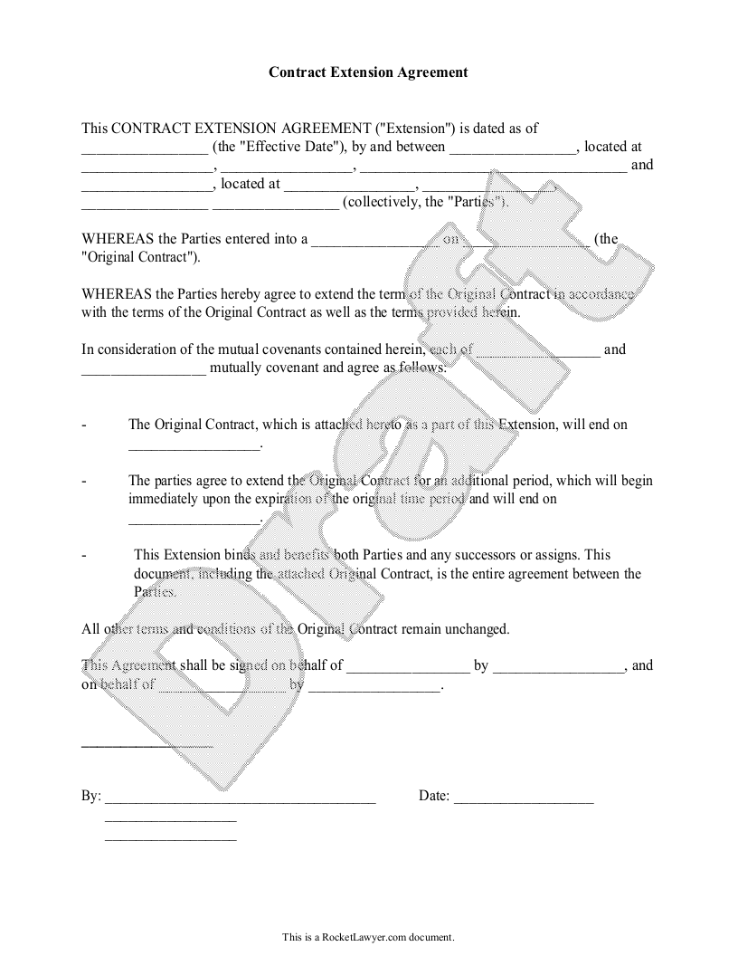 Sample Contract Extension Agreement Template