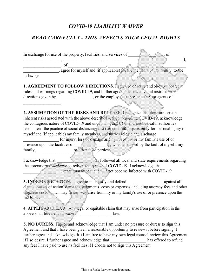 Sample COVID-19 Liability Waiver Template