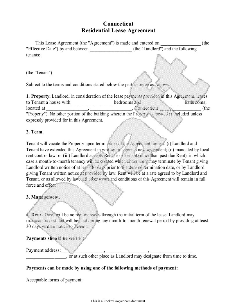 Sample Connecticut Lease Agreement Template