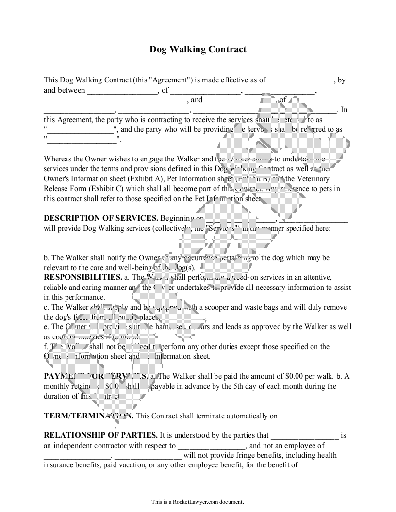 Free Dog Walking Contract Free To Print Save Download