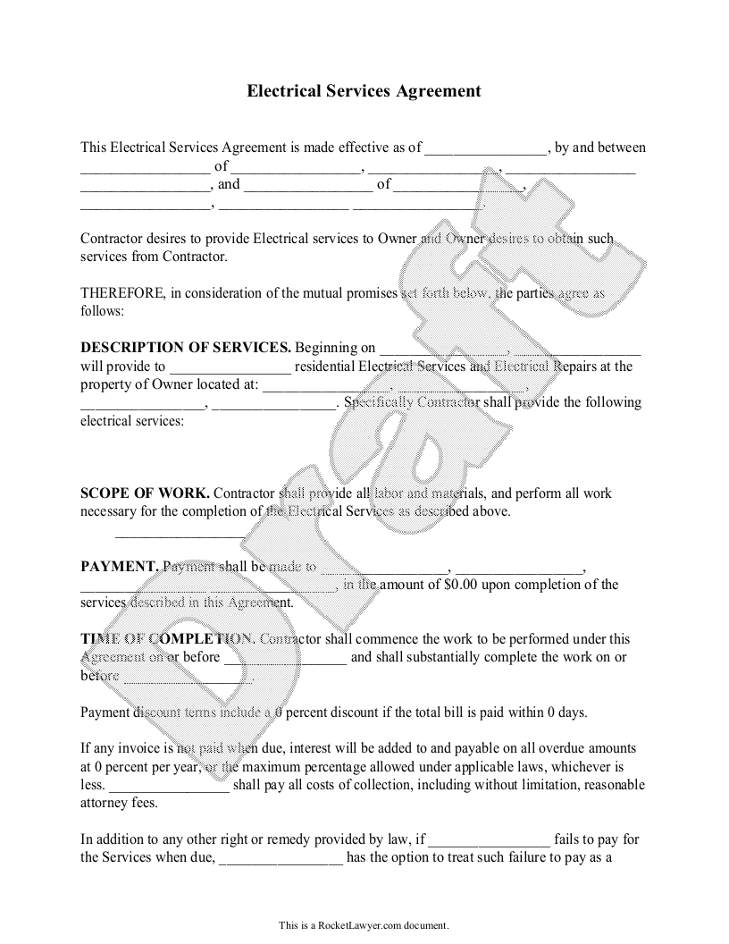 Free Electrical Service Agreement Free To Print Save Download