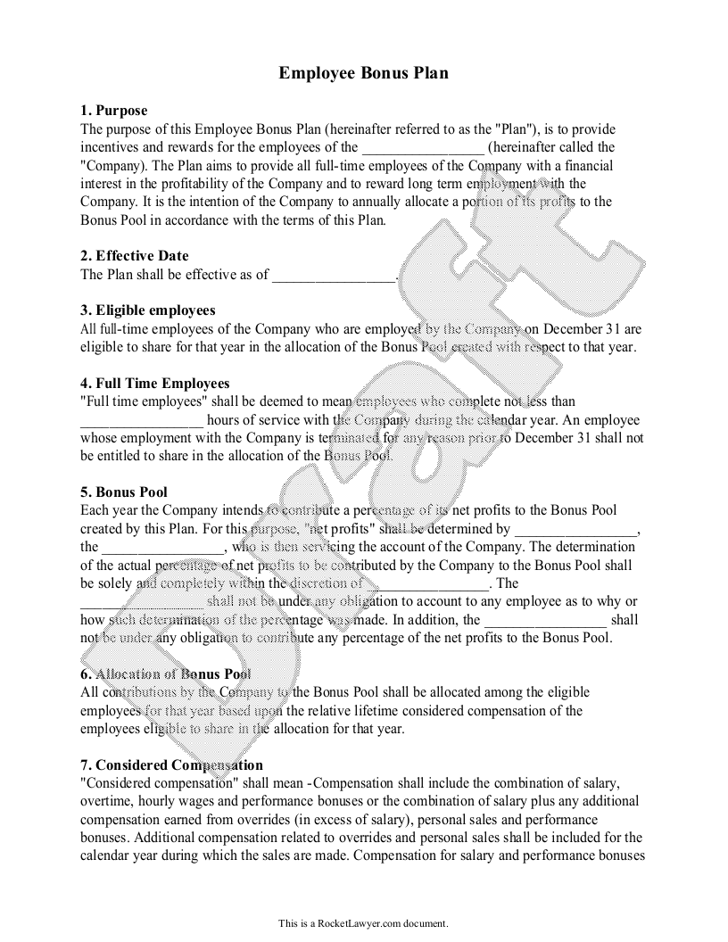 Sample Employee Bonus Plan Template