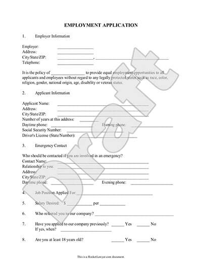 Sample Employment Application Template