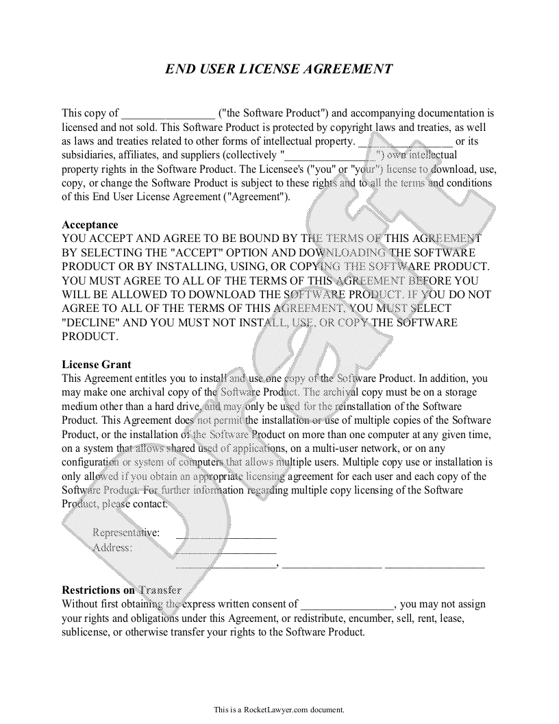 Sample End User License Agreement Template