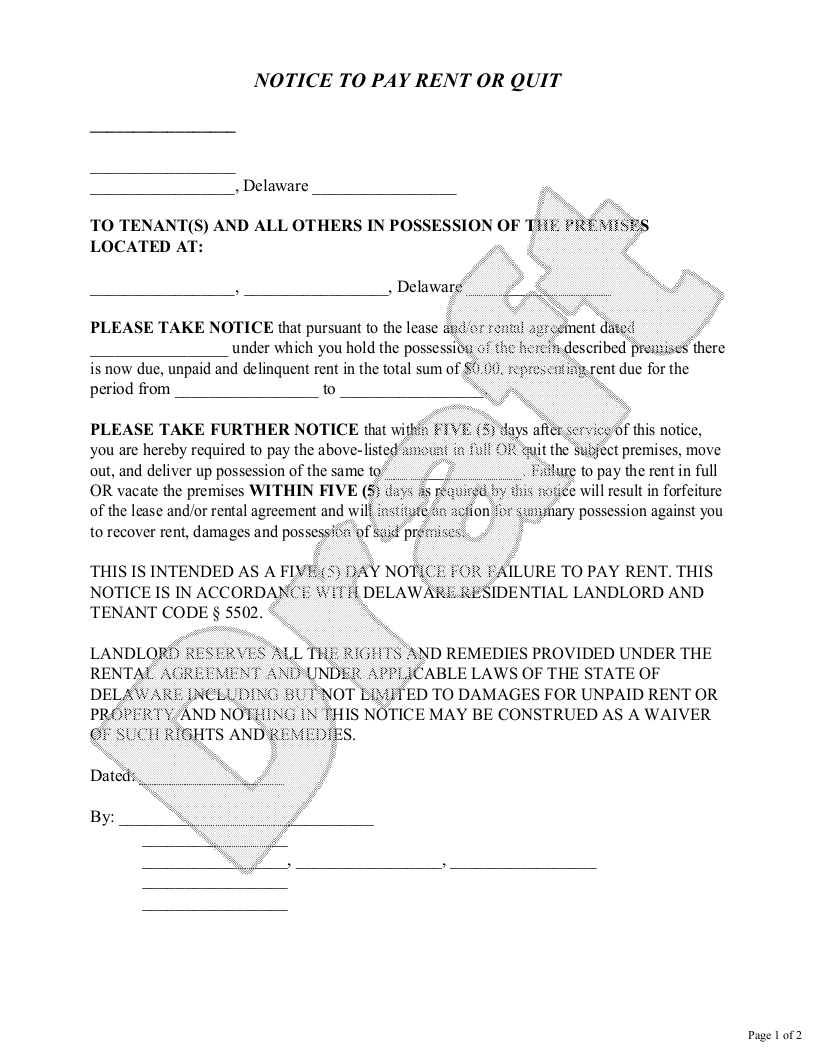 Sample Delaware Eviction Notice Template