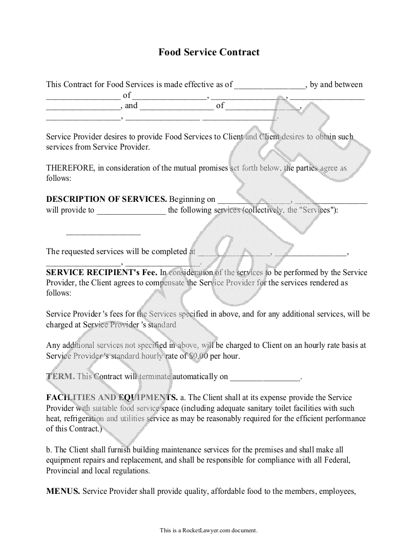 Free Food Service Contract Free To Print Save Download
