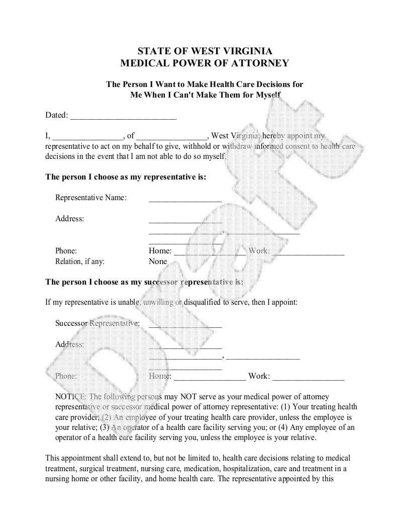 Sample West Virginia Healthcare Power of Attorney Template