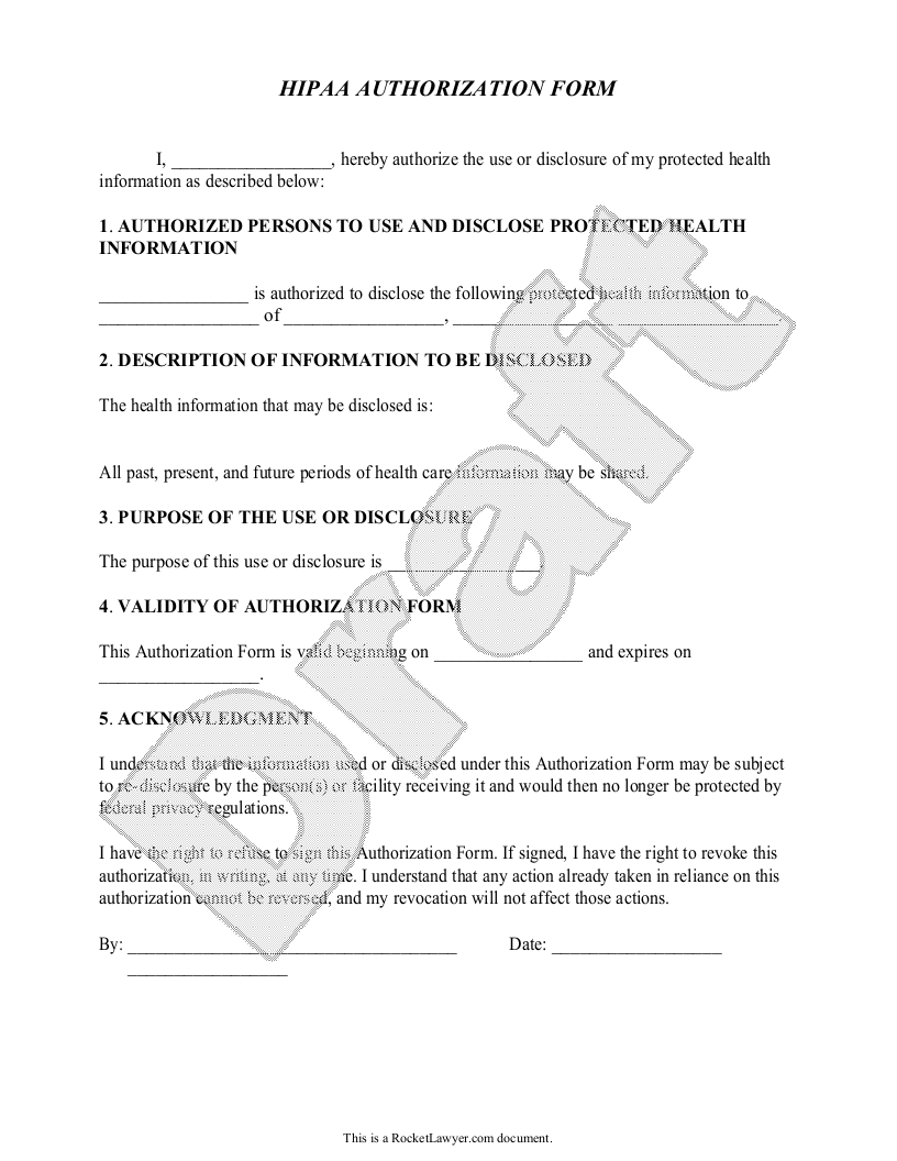 Sample HIPAA Authorization Form Template