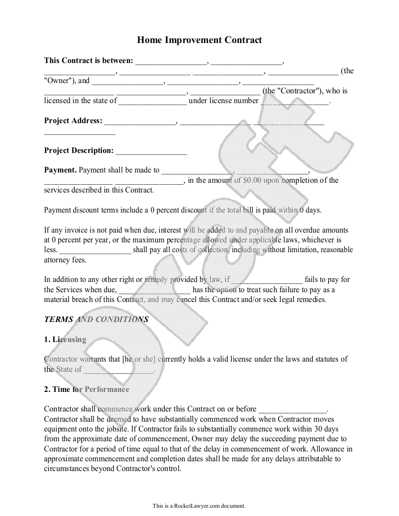 Free Home Improvement Contract Free To Print Save Download