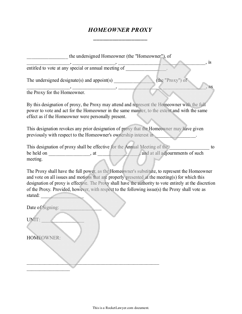 Sample Homeowners' Association Proxy Template