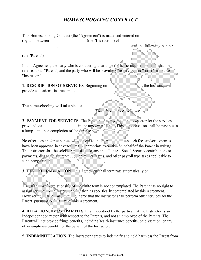 Sample Homeschooling Contract Template