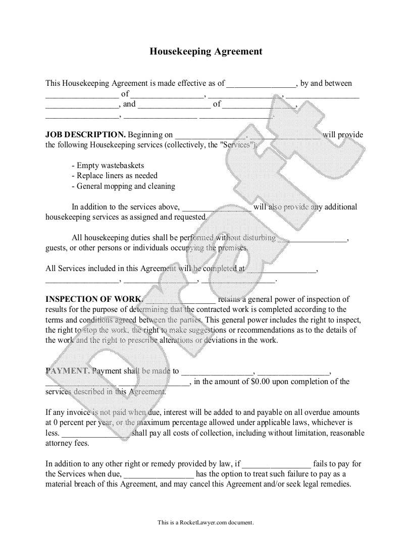 Sample Housekeeping Agreement Template