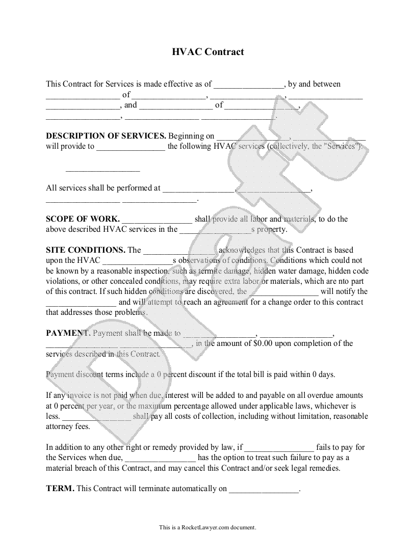 Sample HVAC Contract Template