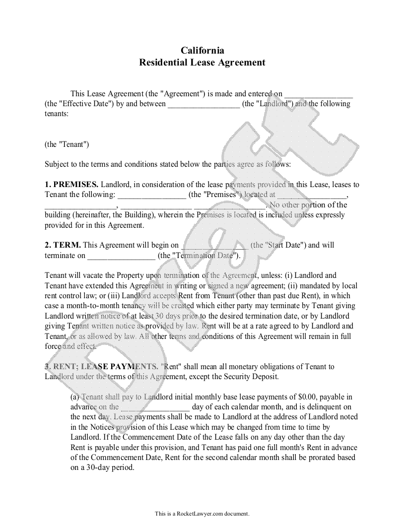 Sample California Lease Agreement Template