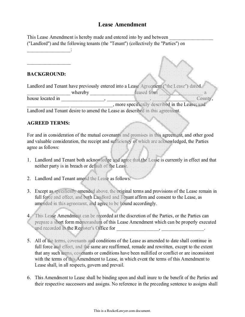 Sample Lease Amendment Template