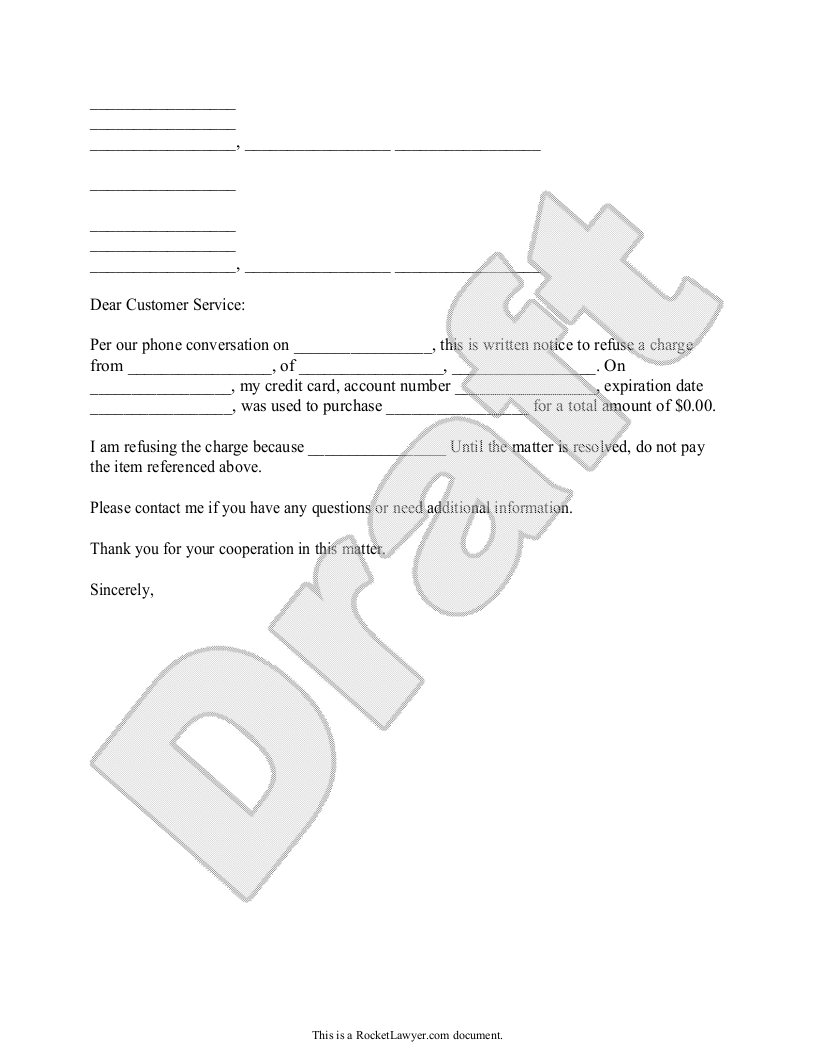 Sample Letter Refusing to Pay for a Charge on your Credit Card Template