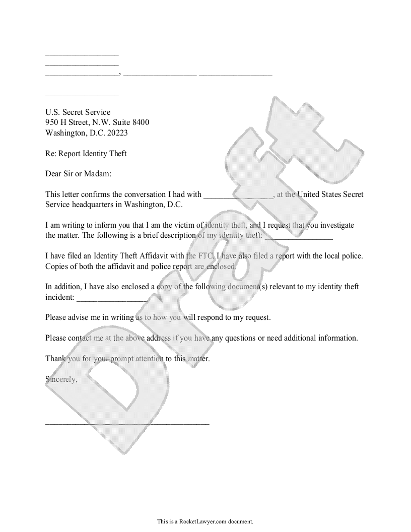 Sample Letter to Report an Identity Theft to the Secret Service Template