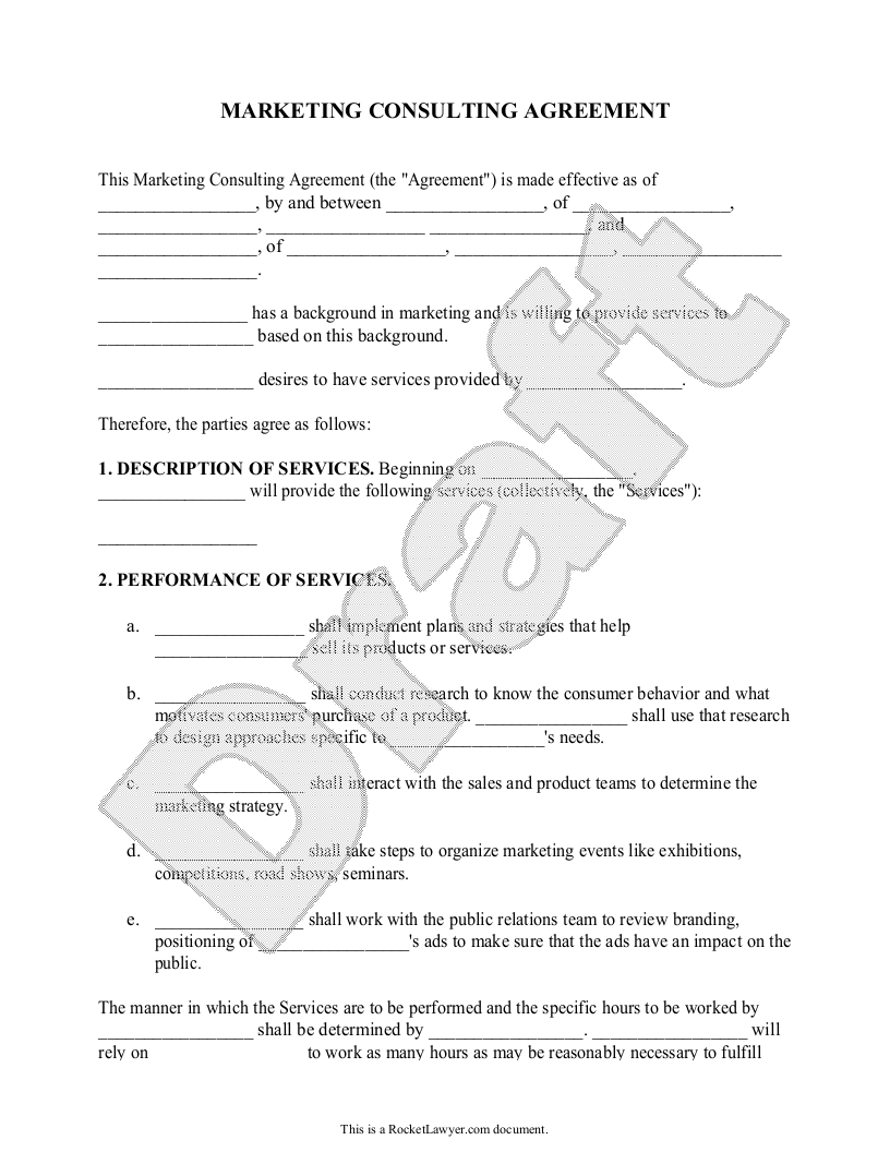 Sample Marketing Consulting Agreement Template