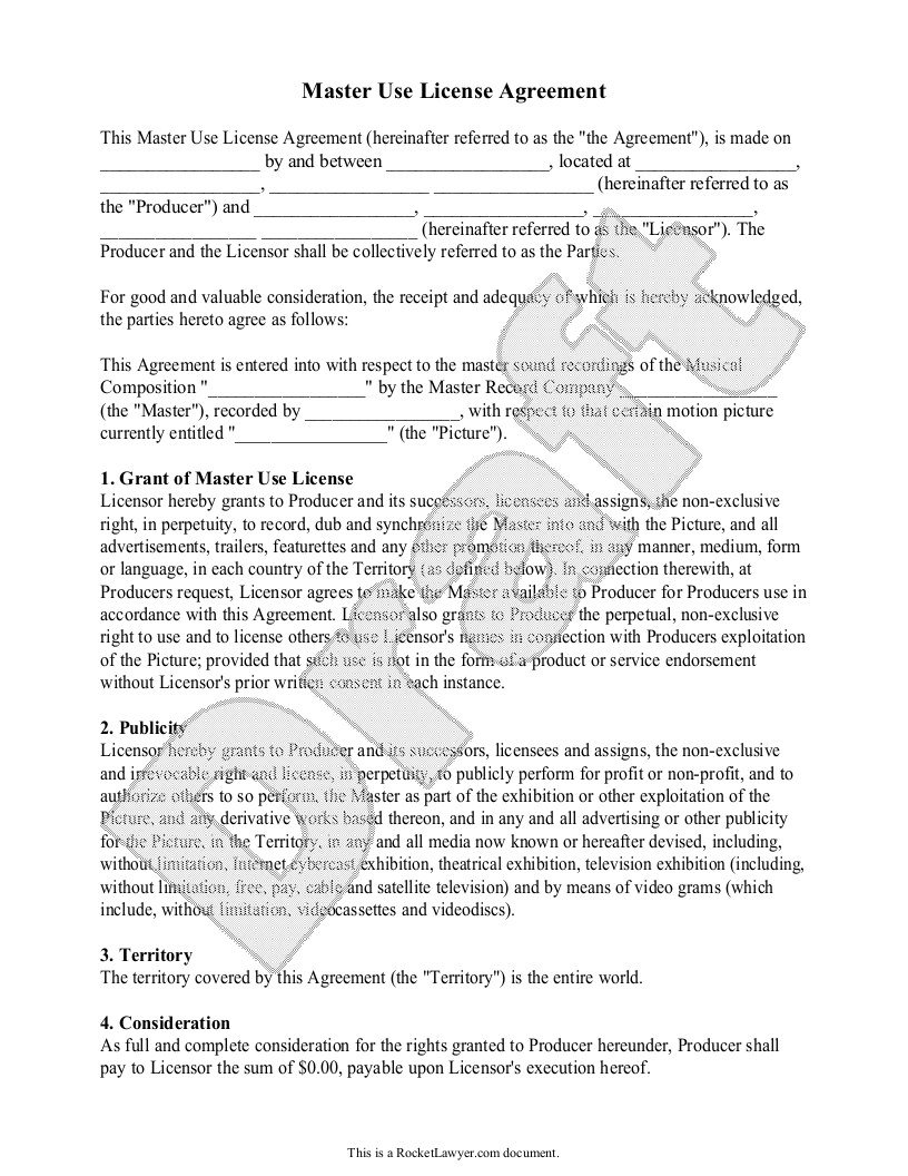 Sample Master Use License Agreement Template
