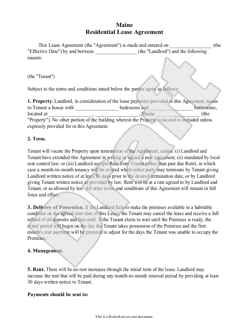 Sample Maine Lease Agreement Template