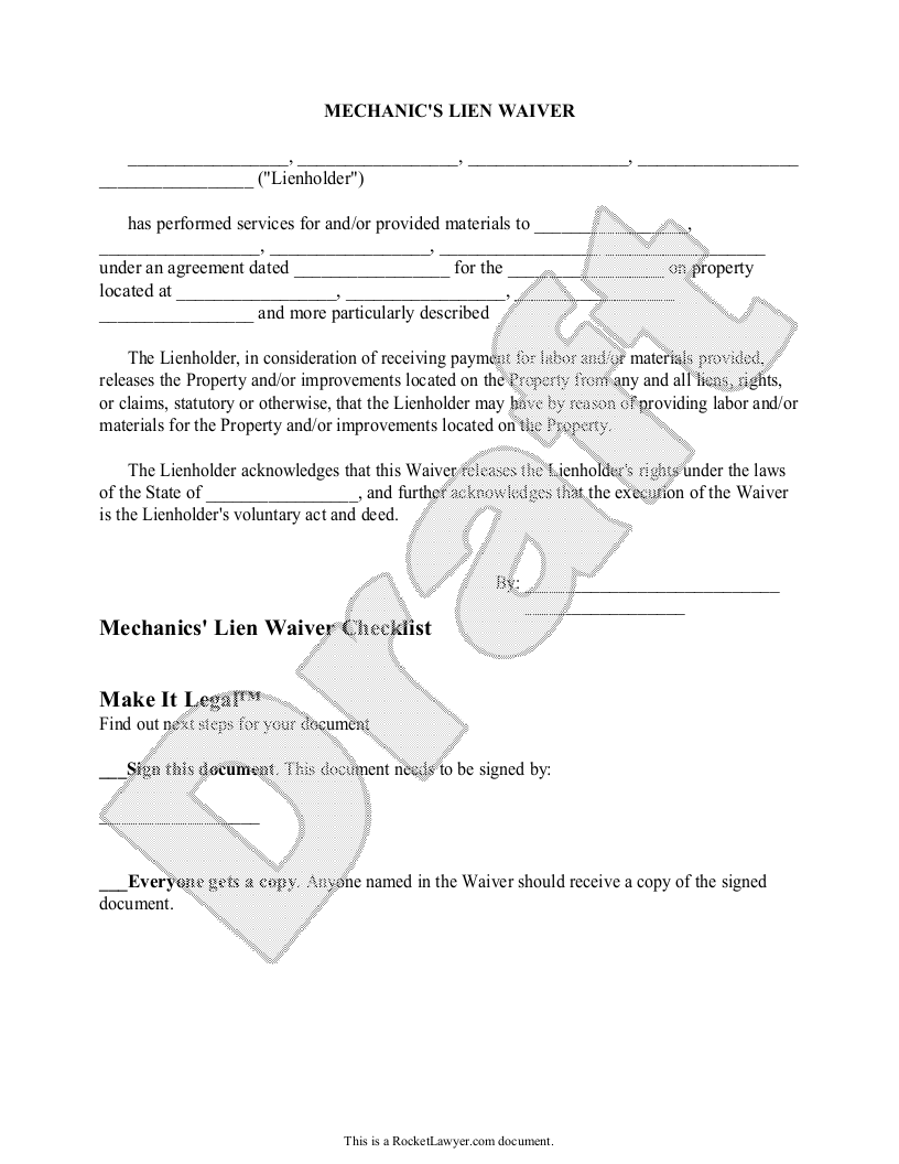 Sample Mechanic's Lien Waiver Template