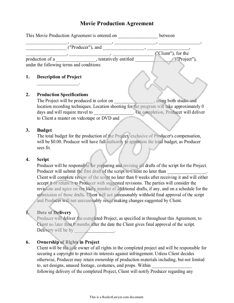Sample Movie Production Agreement Template