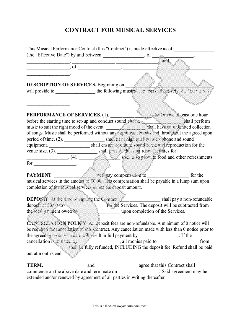 Free Musical Performance Contract Free To Print Save Download