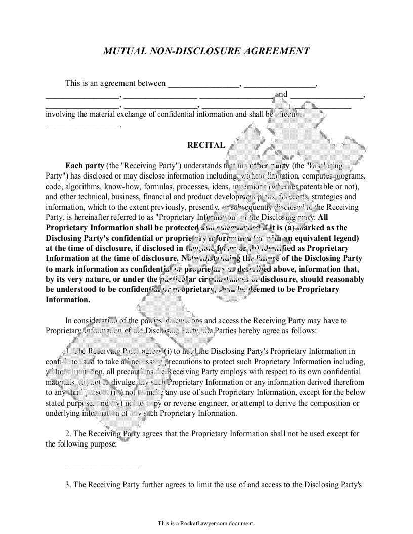 Free Mutual Non Disclosure Agreement Free To Print Save Download